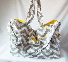 Chevron diaper bag  Grey zig zag large weekender by ACAmour, $60.00