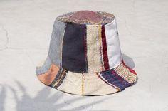 情人節禮物 限量一件 民族拼接手織棉麻帽 / 漁夫帽 / 遮陽帽 / 拼布帽 - 去世界旅行 撞色拼接民族風