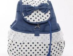 usd33,99/Cute Bowknot Lace Blue Backpack