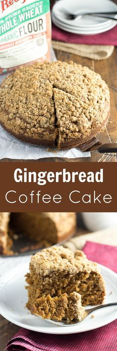 Gingerbread Coffee Cake, the perfect holiday breakfast! This healthy coffee cake recipe is made with cinnamon and has the best crumb topping! Enjoy it on Thanksgiving weekend or make it ahead for Christmas morning! Baking Recipes, Cake Recipes, Dessert Recipes, Christmas Desserts, Christmas Treats, Christmas Christmas, Christmas Coffee, Holiday Baking, Christmas Baking