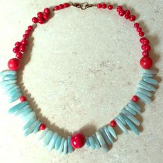 Turquoise and red necklace Light turquoise colored rock and red wooden beads. Short necklace. Handmade. Handmade Jewelry Necklaces