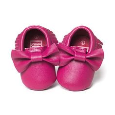 Baby Girl's Bowknot Leather Soft Sole Moccasins (19 Color Options)