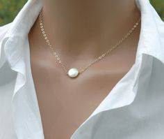Pearl Necklace, Simple Pearl Necklace, Customized Bridal Necklace, Bridal Jewelry, Everyday Pearl Necklace. $23.50, via Etsy.