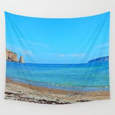 Perce Beach panoramic Wall Tapestry