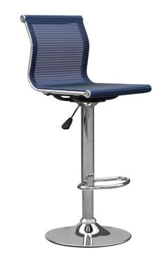 Radcliffe Blue Bar Stool  This elegant and striking bar stool is a fabulous designer led piece. Chrome base with footrest and gas-lift mechanism. Assembly required. Sold in boxes of two.  Color:Blue Item Size:H 920-1120 W 410 D 430