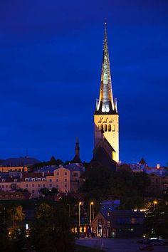 St. Olaf's Church from port at evening, Tallinn, Estonia
