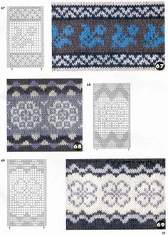 "Nice edging options, or repeat strip knit patterns with charts..... Many more at site. ""Musturi - Sarmīte Lagzdiņa - Picasa Web Albums"""