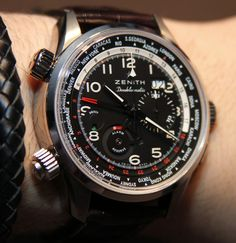 Zenith Pilot Doublematic Watch Hands-On paired with a simple leather braid bracelet