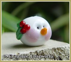 Snow Man Head Winter Holiday Lampwork Bead by moonrakerbeads, $6.50