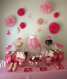 all pink ballerina party dessert table-love the use of different pinks!