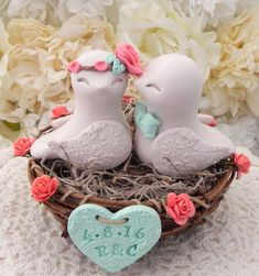 Reserved for Amanda  Rustic Love Bird Wedding Cake by LavaGifts