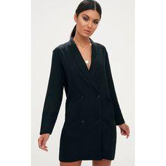 Black Oversized Blazer Shift Dress ($42) ❤ liked on Polyvore featuring dresses, black, button dress, sexy shift dress, sexy dresses, shift dress and cocktail shift dress