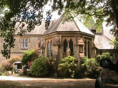 Exterior of the chapel, Weston Manor House, Freshwater, Isle of Wight. By Goldie, Child and Goldie, 1881-2, for Wilfred Ward of Oxford Movement fame. French 16th-century domestic Gothic, not large, but with big private chapel attached. Now a bed-and-breakfast.