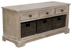 The wonderfully weathered Oslember storage bench makes what's old fresh and new. Packed with possibilities, it's sure to be a welcome addition everywhere from the entryway to the bedroom, home office, kitchen or mudroom. Quality construction includes three smooth-gliding drawers and a trio of woven baskets that make handy catchalls. Storage Bench With Baskets, Bench With Drawers, Wood Storage, Storage Shelves, Storage Benches, Storage Trunk, Metal Drawers, Storage Hacks, Diy Storage