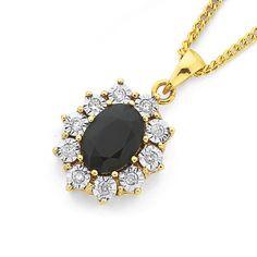 9ct Gold Sapphire & Diamond Oval Pendant
