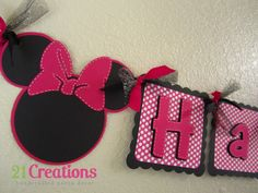 Minnie Mouse Birthday Banner - Hot Pink Polka dots. $35.00, via Etsy.