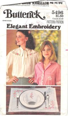 BUTTERICK 5496 - FROM 70S - UNCUT - ELEGANT EMBROIDERY