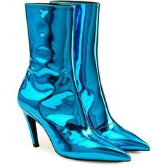 Styled on pin-thin stiletto heels, these pointed boots from Balenciaga are an urbane way to elevate your shoe edit - complete with a second-skin ankle-high shaft. The mirrored blue leather keeps them statement. Cool Art Drawings, Realistic Drawings, Colorful Drawings, Colored Pencil Artwork, Color Pencil Art, Blue Ankle Boots, Leather Ankle Boots, Ankle Booties, Fashion Illustration Sketches
