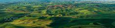 Palouse wheat fields sunrise panorama by markbowenfineart. Please Like http://fb.me/go4photos and Follow @go4fotos Thank You. :-)
