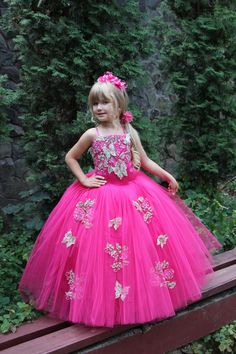 Deep Pink Fuchsia Flower Girl Dress - Wedding Party Holiday Birthday Peasant Bridesmaid Flower Girl Deep Pink Fuchsia Tulle Dress by Butterflydressua on Etsy