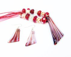 Glass Pendant Necklace Earring Set Red Silver by PalmSpringsUnique