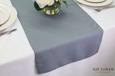 Gray Table Runner Polyester  Wedding Decoration by GOLinen on Etsy