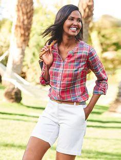 The Jewel-Neck Casual Shirt-Marimba Plaid - Talbots - SB May 2017 Summer Outfits, Summer Shorts, Talbots, Spring Summer Fashion, Casual Shirts, Ralph Lauren, Plaid, Plus Size, Style Inspiration