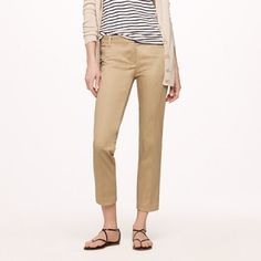 """J. Crew city fit capri chinos Good used condition.  Khaki cropped chinos from J Crew.  26"""" inseam, 7"""" leg opening, 8.5"""" rise, 15.5"""" waist.   No trades. Reasonable offers welcome Note: 20% off bundles of 2+ items in my closet! J. Crew Pants"""