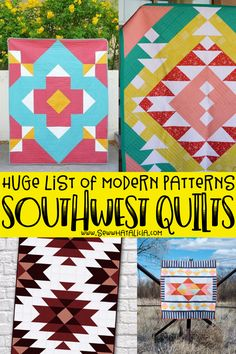 modern quilting designs Modern Southwest Quilt Patterns There is just something about the colors and patterns of these Modern Southwest Quilt Blocks that will just draws you in. After looking at all these beauties, you will definitely have Triangle Quilt Pattern, Half Square Triangle Quilts, Star Quilt Patterns, Modern Quilt Patterns, Sewing Patterns, Southwestern Quilts, Modern Quilting Designs, Quilt Designs, Indian Quilt