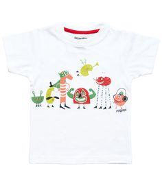 White short sleeve kids T shirt with family of monsters print.  100% soft organic cotton. Includes packaging which makes this tee a great gift!  Unisex regular fit.  PIPI & PUPU kids(art)wear - Playful quality organic cotton for kids  Illustrators are our heart and soul!  All of our pr...