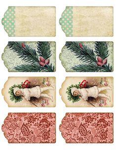 Free Printable Vintage Christmas Tags.