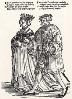 Title: Brautpaar Tags: Katzbalger, Kuhmaul shoes, Neckchain, Coat Date: ca. 1532 Artist: Erhard Schoen Provenance: Germany Collection: Kupferstichsammlung der Universität