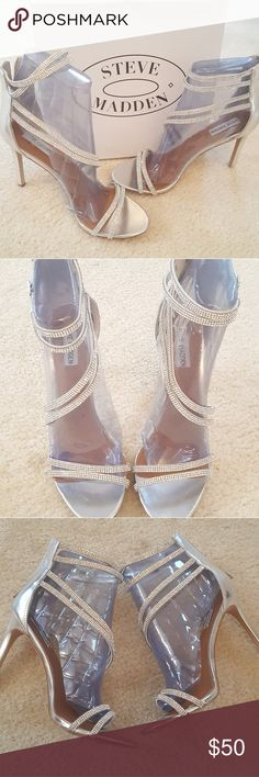 "Steve Madden FIFFI rhinestone strappy sandal heels Like New condition. Worn for a 20 minute wedding ceremony and then removed. Shoes are beautiful. Comes in original box. #wedding #prom special occasion #event  Faux leather and back zipper closure Round open toe faux leather lining Padded footage 4"" covered stiletto Synthetic sole Imported Steve Madden Shoes Heels"