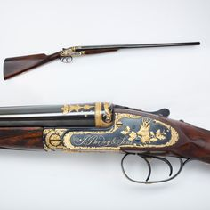 Engraved Purdey shotgun - No doubt you've heard of the choice between the lady or the tiger. Our GOTD offers a choice between the dog and the deer. But no matter what aspect of this fine smoothbore you might select, the golden inlays and engraving embellishments on this Purdey make it stand out.   As part of the Robert E. Petersen Gallery, it's a natural favorite of visitors, whichever receiver side you choose in the end.