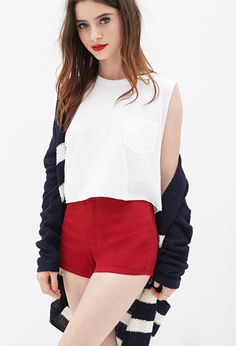 $9, Red Denim Shorts: Forever 21 High Waisted Denim Shorts. Sold by Forever 21. Click for more info: https://lookastic.com/women/shop_items/210482/redirect