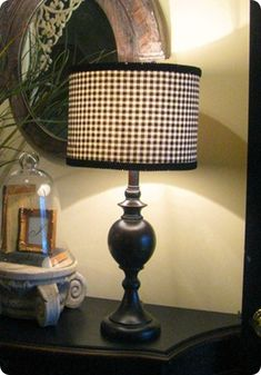 Knockoff Decor |  Ballard inspired black and white fabric lampshade | LOTS of Fantastic Knockoff's to Rival Those Spendy Favorites !