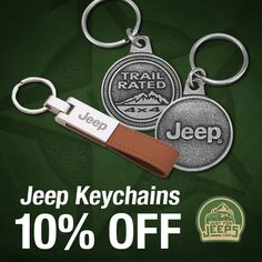 Sometimes only the very best will do. Order a personalized Jeep keychain today and save 10%!  Shop now: JustForJeeps.com/jeepkeychains.html