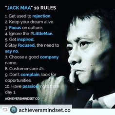 Jack Mas top 10 rules for success. Ma Yun known professionally as Jack Ma is a Chinese business magnate investor and philanthropist. He is the co-founder and executive chairman of Alibaba Group a multinational technology conglomerate. Wisdom Quotes, True Quotes, Quotes To Live By, Motivational Quotes, Inspirational Quotes, Business Advice, Business Motivation, Business Quotes, Motivation Success