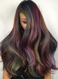 Pastel and Neon Hair Colors in Balayage and Ombre: Peacock Rainbow Hair