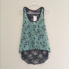 Bird lace boho top Lace top with bird print all over. Back is sheer lace. Size M (fits like a S). Brand new with tags.  Style is similar to Anthropologie Anthropologie Tops