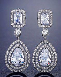 Cercei mireasa Teardrop cu zirconii Diamond Earrings, Drop Earrings, Swarovski, Jewelry, Diamond, Jewlery, Jewerly, Schmuck, Drop Earring