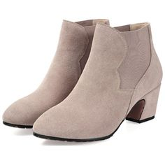 Paneled Faux Suede Ankle Boots (440 ZAR) ❤ liked on Polyvore featuring shoes, boots, ankle booties, oasap, black, ankle boots, faux suede ankle booties, bootie boots, short boots and faux suede boots