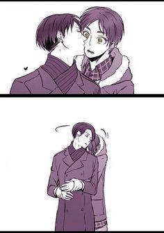 Levi, Eren, kiss, yaoi, EreRi, RiRen, comic, cute; Attack on Titan