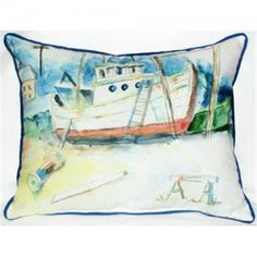 Betsy Drake ZP698 Old Boat Indoor & Outdoor Throw Pillow, 20 x 24 in., As Shown