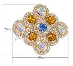Messing Cabochon, Rhombus, echtes Rósegold plattiert, Micro pave Zirkonia & flache Rückseite, frei von Nickel, Blei & Kadmium, 30x27x4mm, 5S...