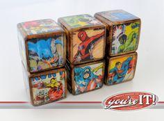 Spiderman Incredible Hulk Superman Captain America Batman Iron Man - Superhero Wooden Blocks Set of 6 Vintage Inspired Design You're It Kids on Etsy, $31.50
