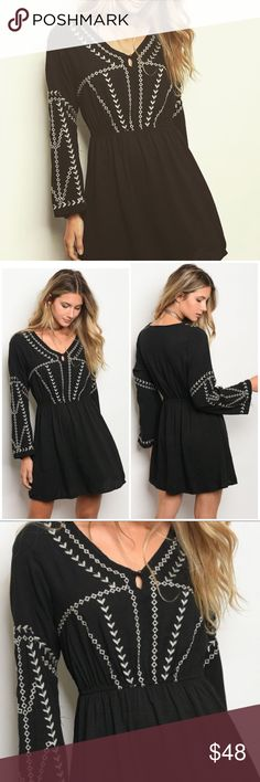 """NWT Embroidered Boho Bell Sleeve Fit & Flare Dress Color: Black  Fabric Content: 60% RAYON 40% POLYESTER Description: L: 33"""" B: 36"""" W: 23"""" Dresses"""