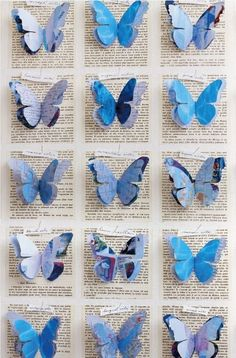 Butterfly papers - keep the print background and try to frame it somehow pretty… Fun Crafts, Diy And Crafts, Arts And Crafts, Paper Crafts, Butterfly Crafts, Blue Butterfly, Butterfly Mobile, Paper Butterflies, Paper Flowers