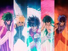 Foto: Shun de andromeda , Hyoga de cisne , Seiya de pegaso , Shiryu de dragón , Ikki de Fénix