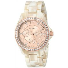 Fossil Es3579p Riley Multifunction Shimmer Horn Resin Watch WatchFeminine watch featuring crystal-studded bezel and rose-tone sunray dial with three subdials38-mm stainless steel case with mineral dial windowQuartz movement with analog display  Available at #Brandinia  www.Brandinia.com